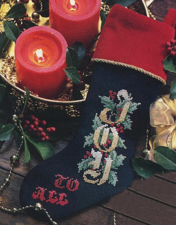 Joy cross stitch stocking