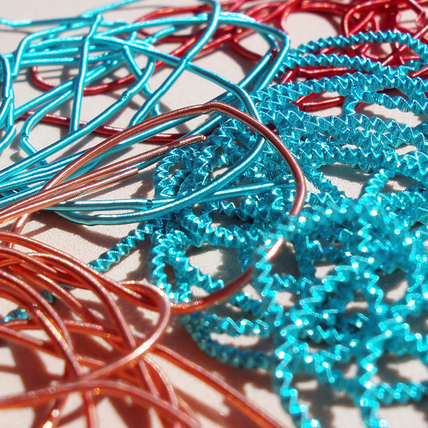 Real metal threads for hand embroidery