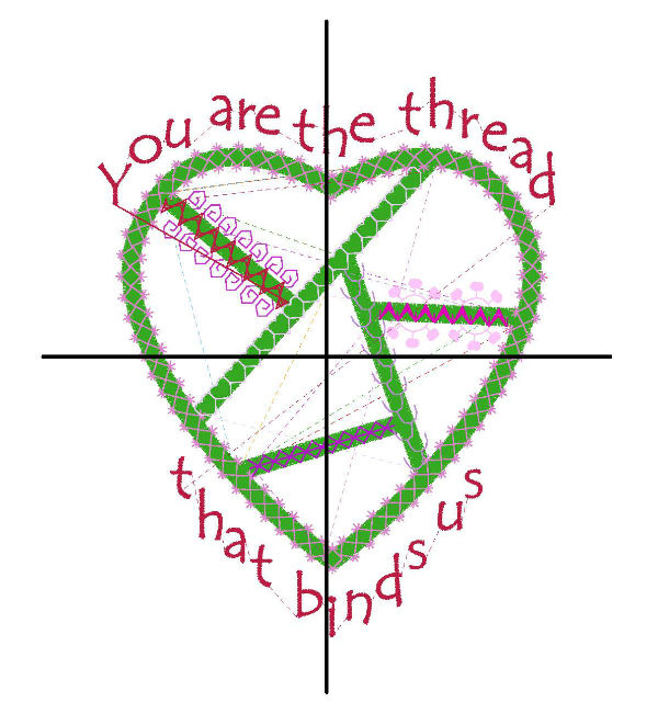 Embroidery design template with cross hairs.