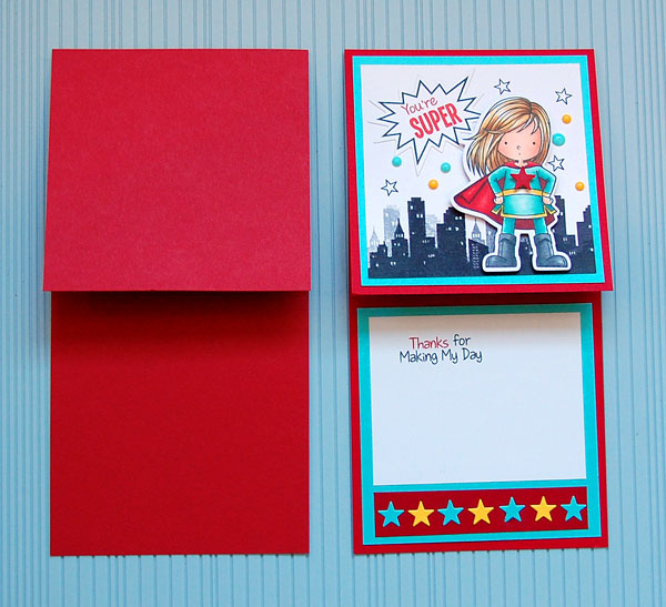 Blank card and finished card open side by side