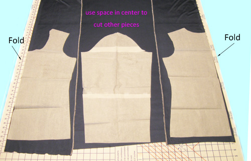 fabric folded for cutting