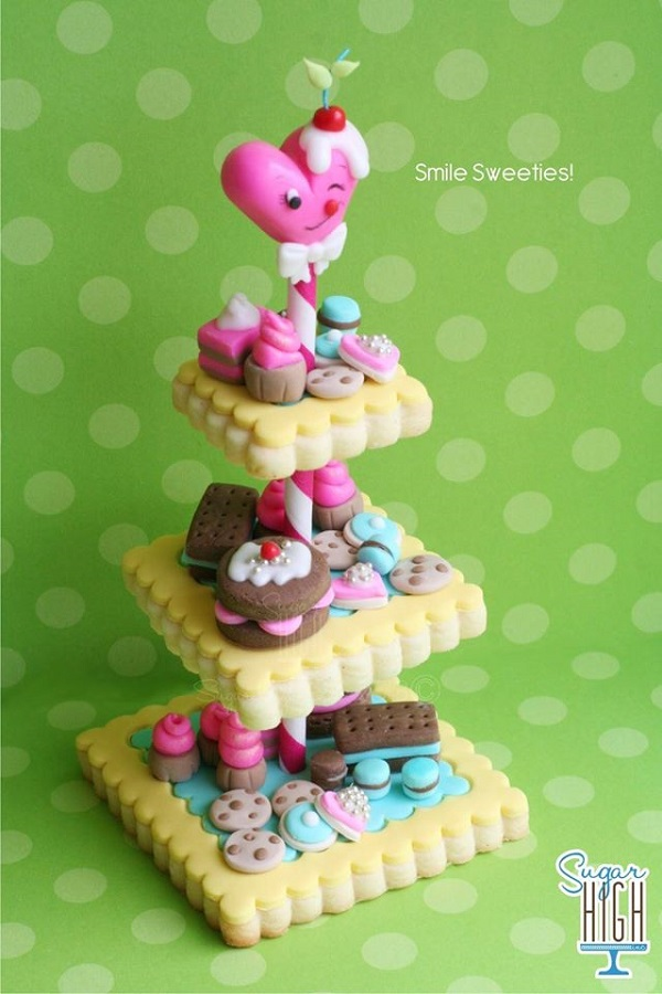 Fondant pastries on cookie tower