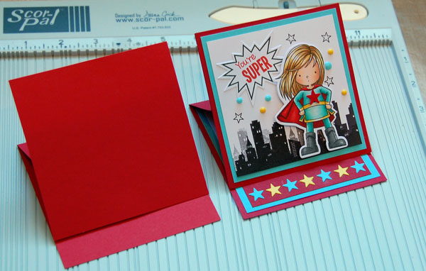 Blank card and finished card side by side