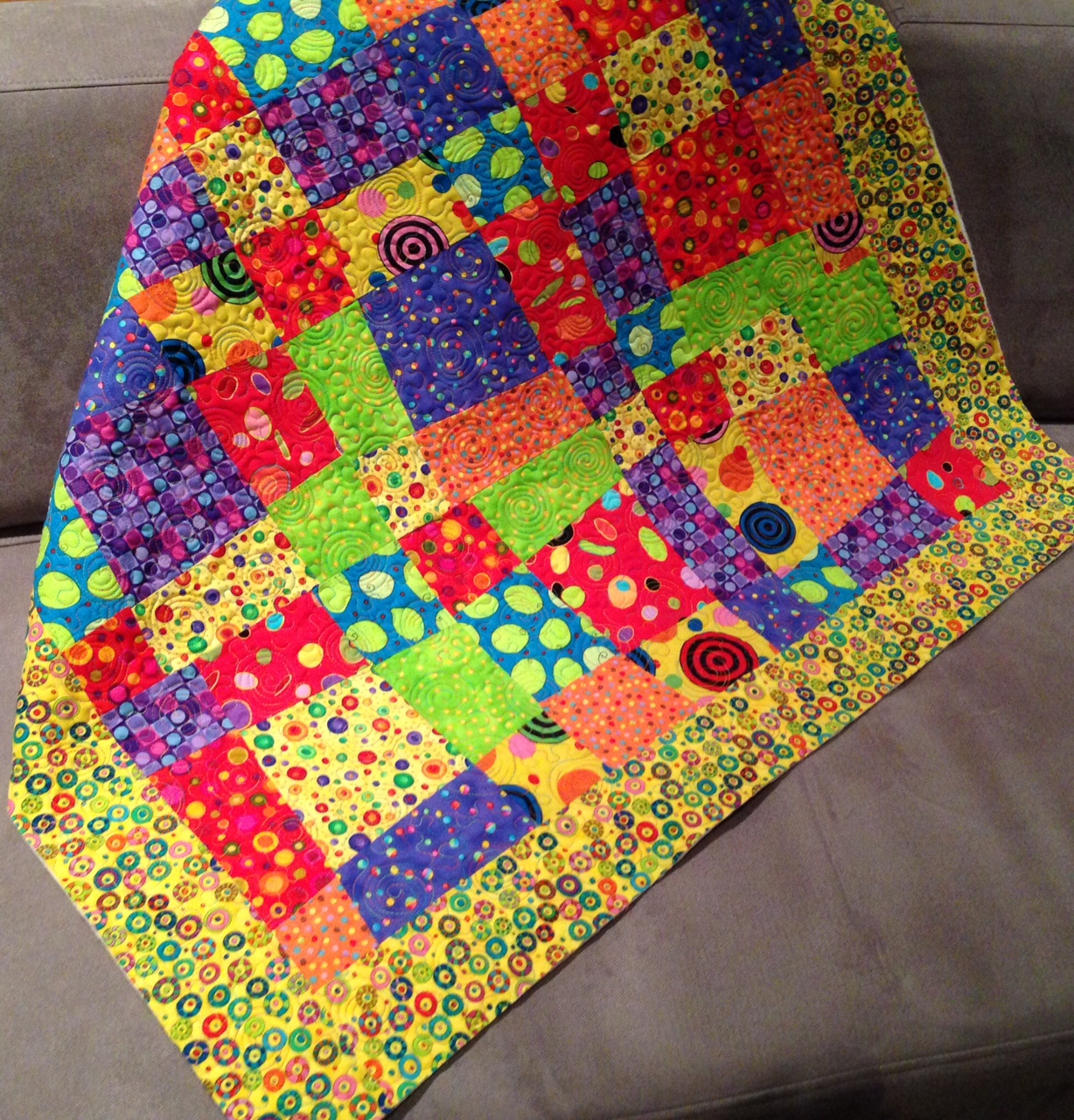 Crazy Nine Patch Baby Quilt
