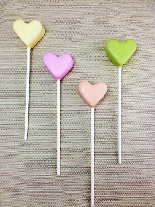 Dipped cake pop conversation hearts