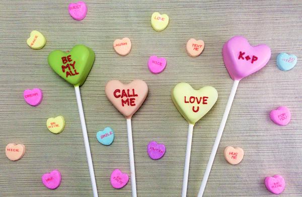 Cake Pop Conversation Hearts