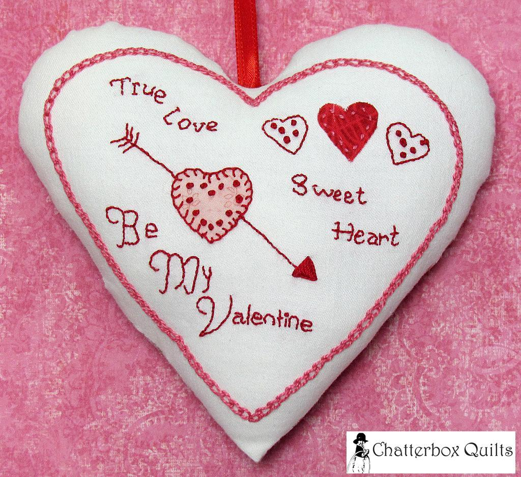 Candy Hearts Pillow Pincushion Ornament