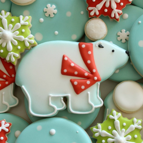 Decorated Polar Bear Cookie