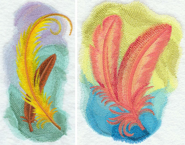Embroidery Library watercolor feathers embroidery designs.