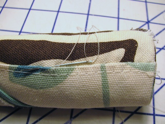 hand stitch cover to  batting roll