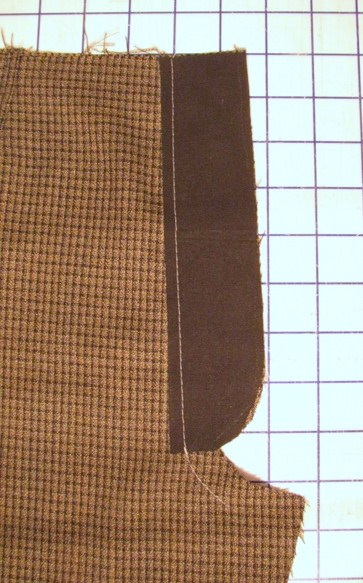 baste stitch along center front