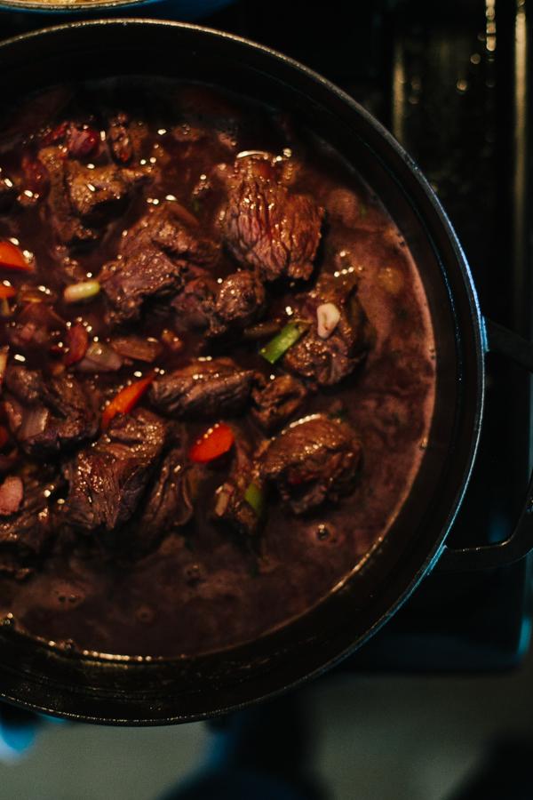 Simmering beef stew