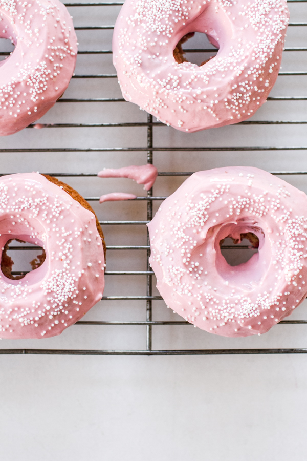 Beet Dyed Pink Vanilla Bean Baked Donuts