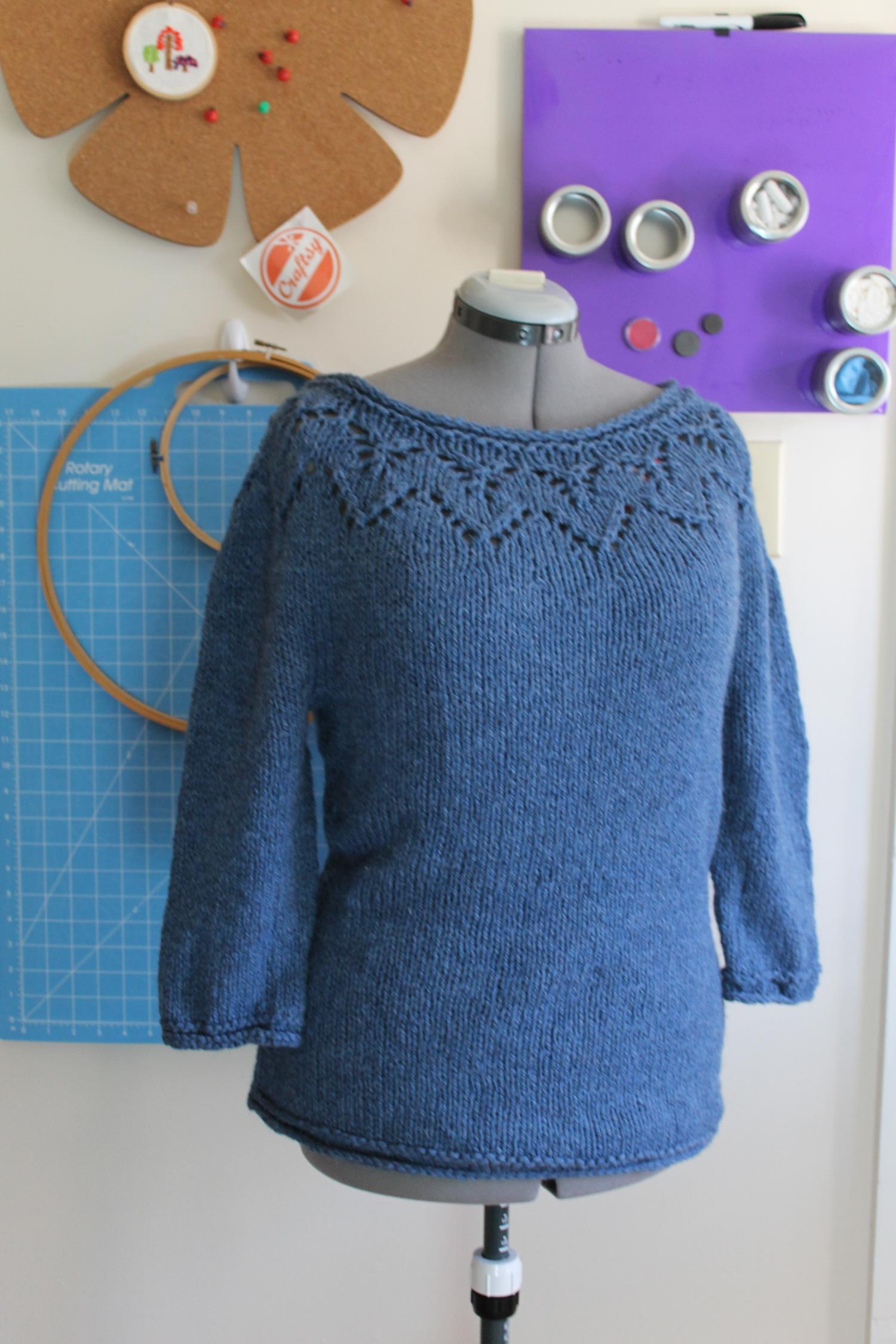 Knit Wedge Lace Yoke Sweater