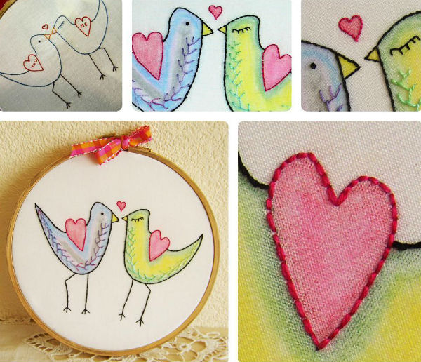 My Funny Valentine embroidery with coloring.