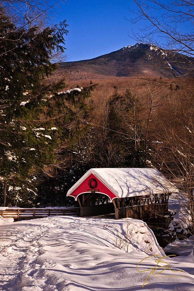 Flume Gorge Covered Bridge Winter