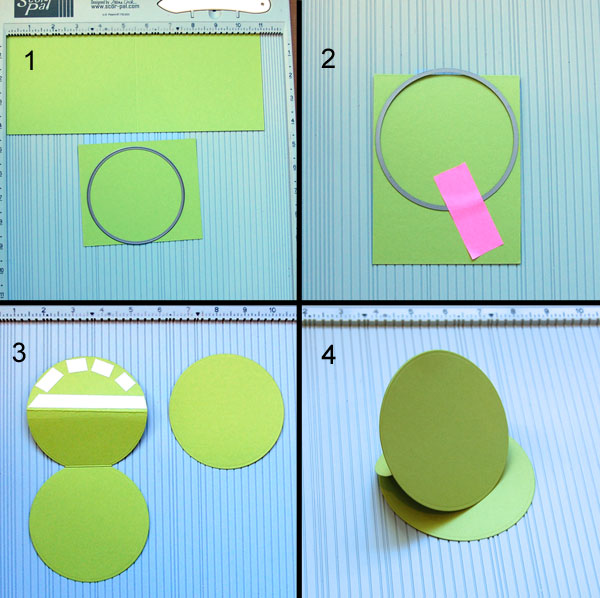 Steps 1-4 Instructions for round easel card