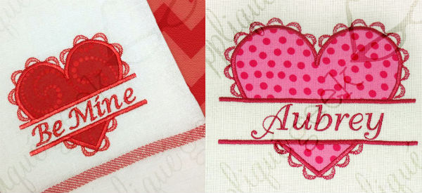 Split heart valentine applique design