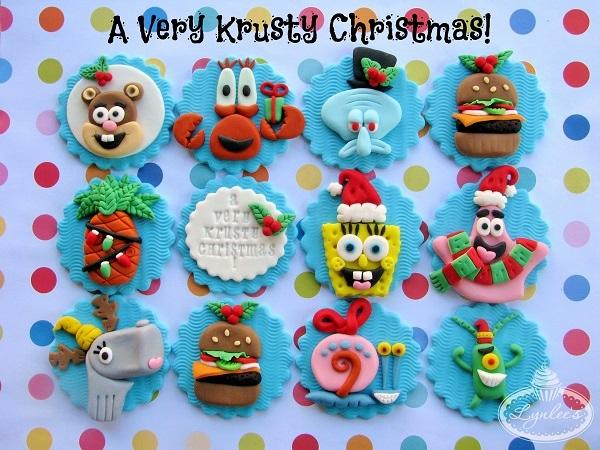 Spongebob Christmas cupcake toppers