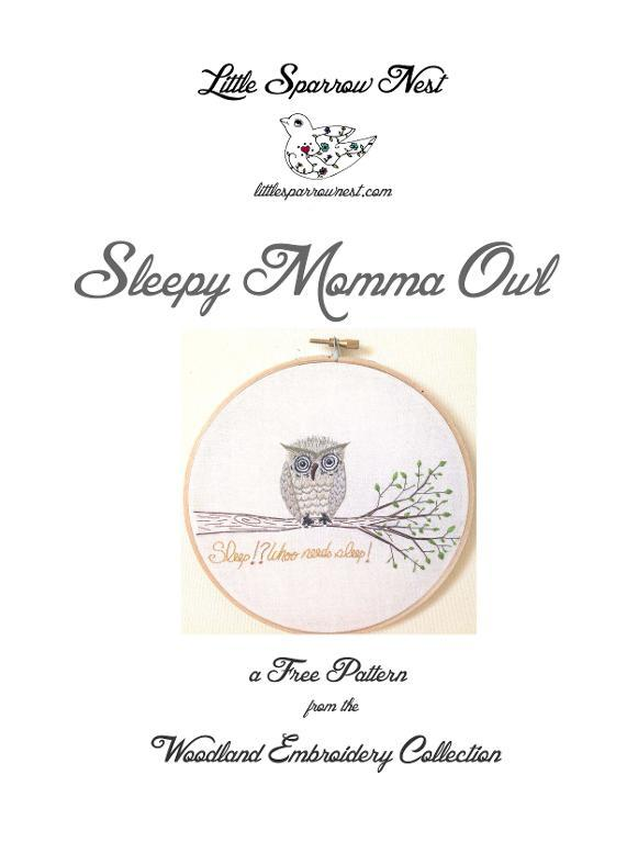 The Sleepy Owl — free embroidery pattern