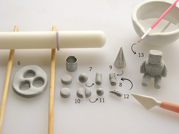 Valentine robot fondant tutorial step 2