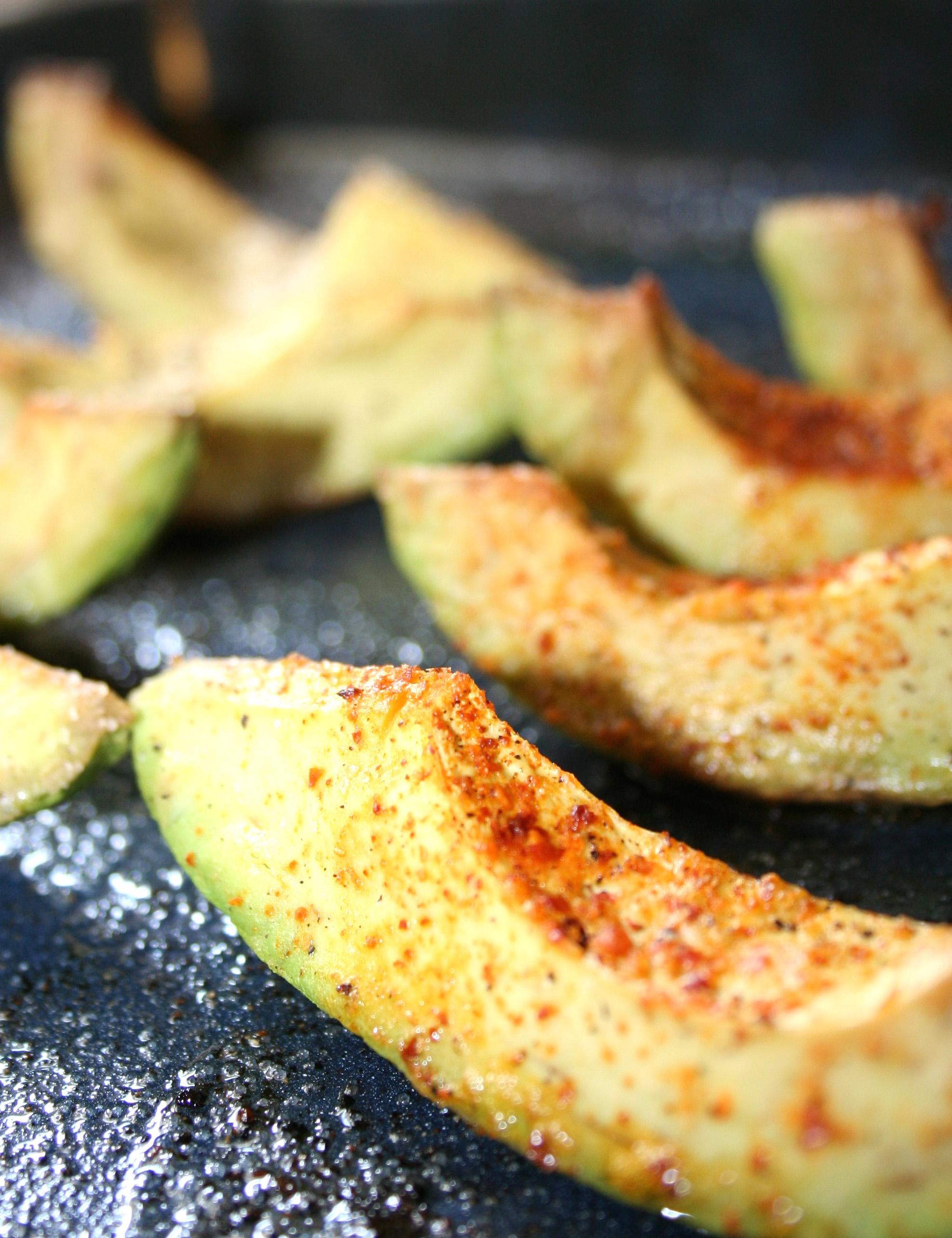 Baked avocado slices