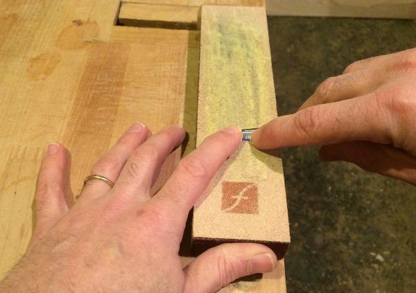 beginning of sharpening stroke