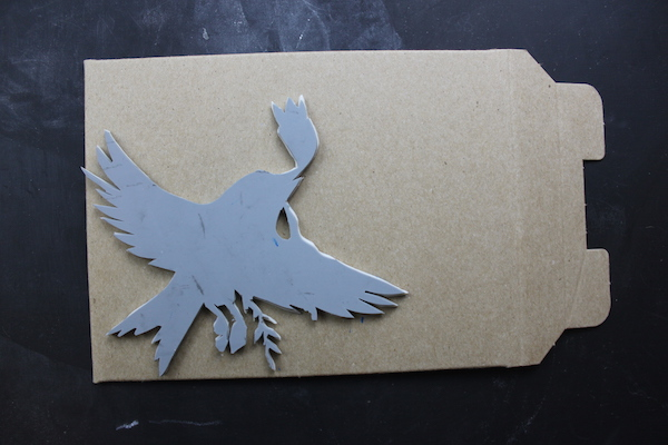 Bird stamp on envelope