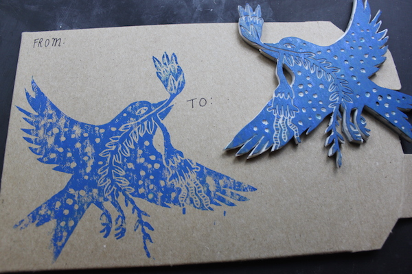Bird stamp printed on envelope