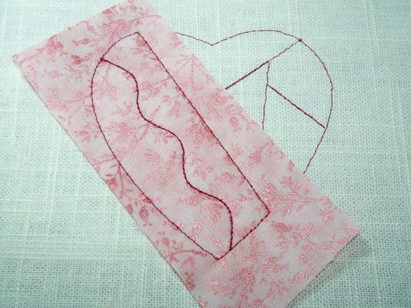 Crazy patch heart: broken area applique.