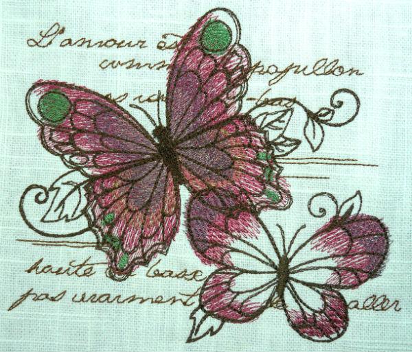 Parisian Butterflies thread work embroidery design.