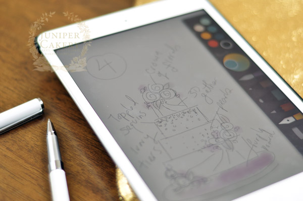 Sketch out cake ideas using a drawing app