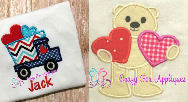 Valentine truck and bear applique designs.