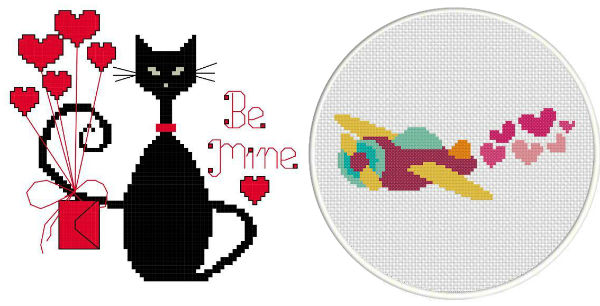Cross stitch Valentine cat and airplane