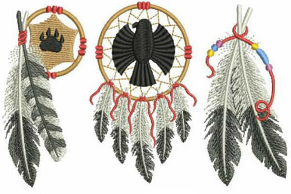 Embroidery Library Native American feather designs