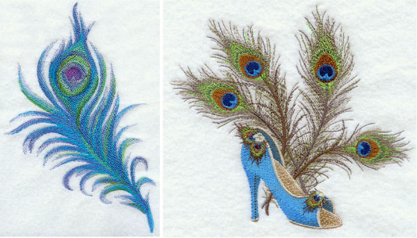 Peacock feather embroidery designs by EmbLibrary.com