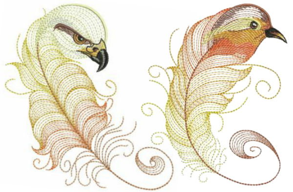 Feather birds embroidery designs by EmbHome.com