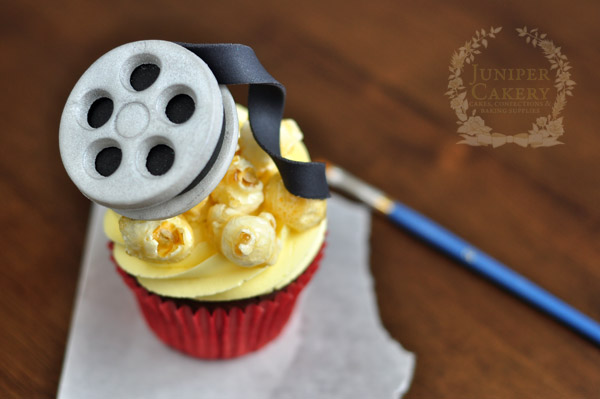 Film reel cupcake topper tutorial by Juniper Cakery