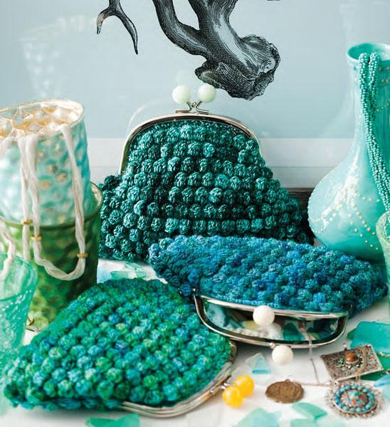 Crocheted Bobble Clutches pattern