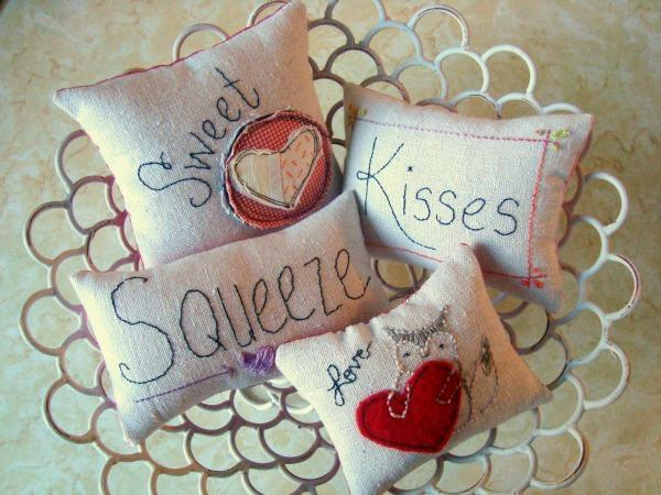 Valentine pillow hand embroidery project.