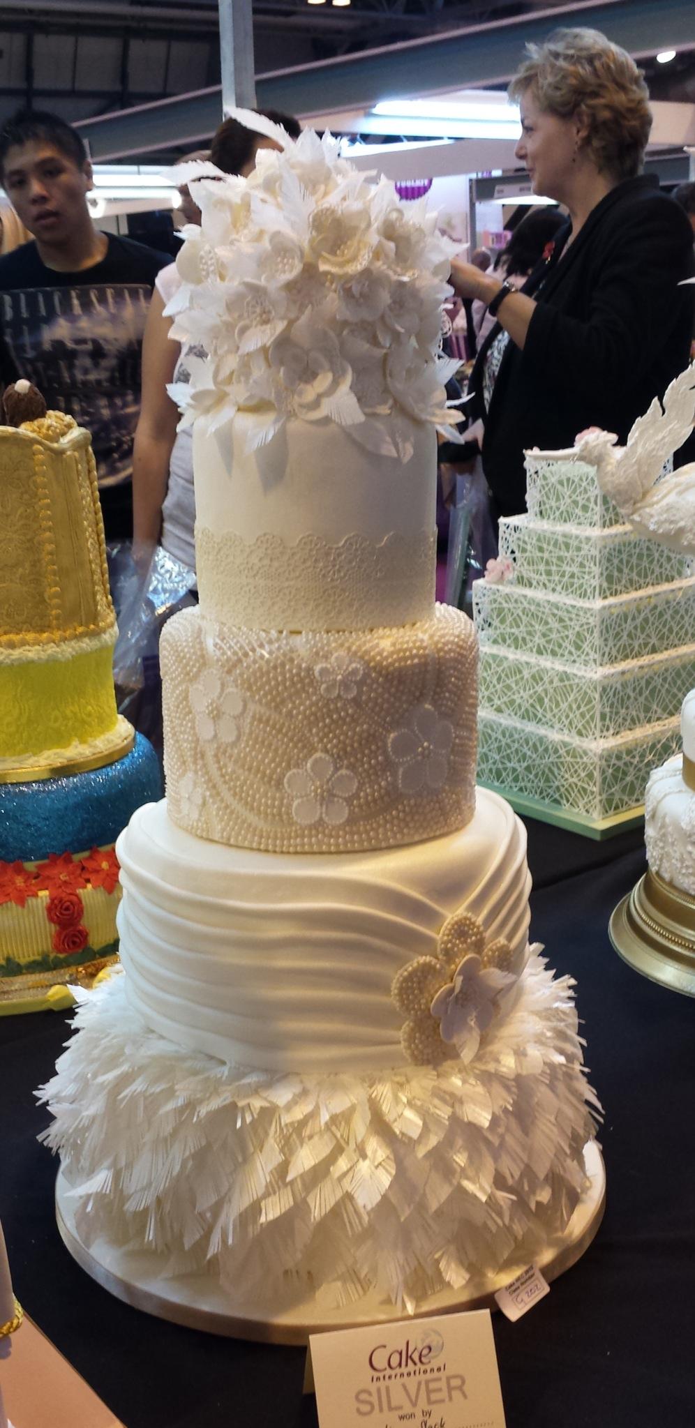 Beaded tier cake