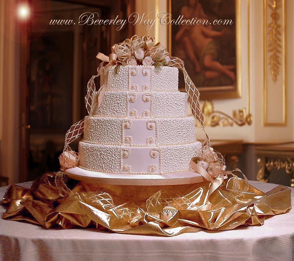 Beaded scroll cake