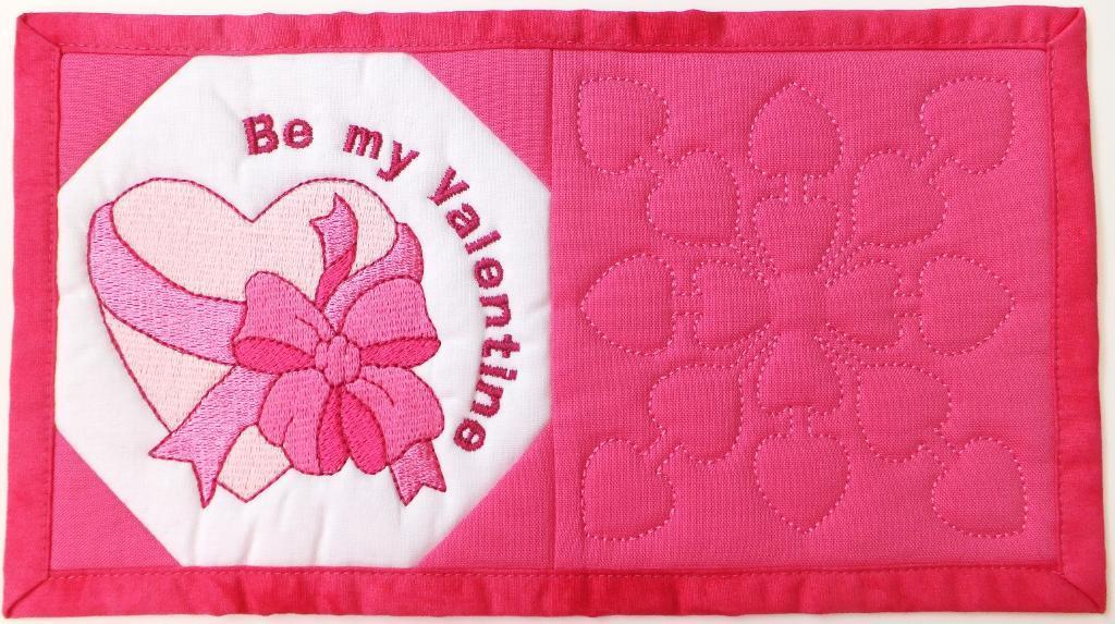 Valentine mug rug embroidery design.