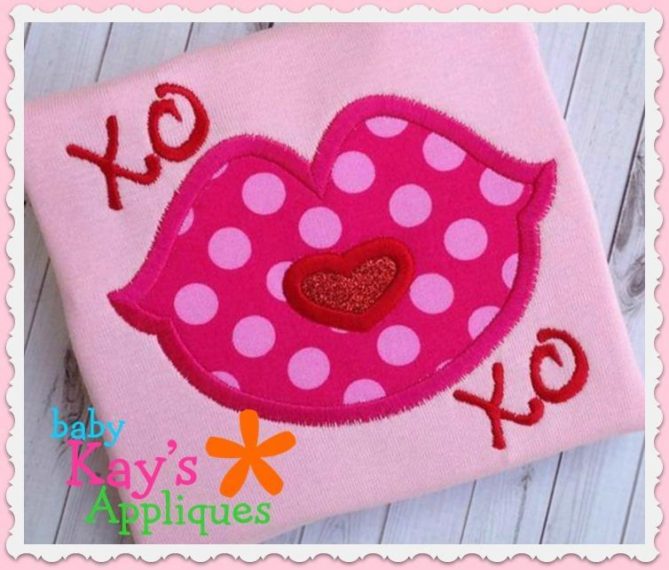 XOXO Kiss Applique design.