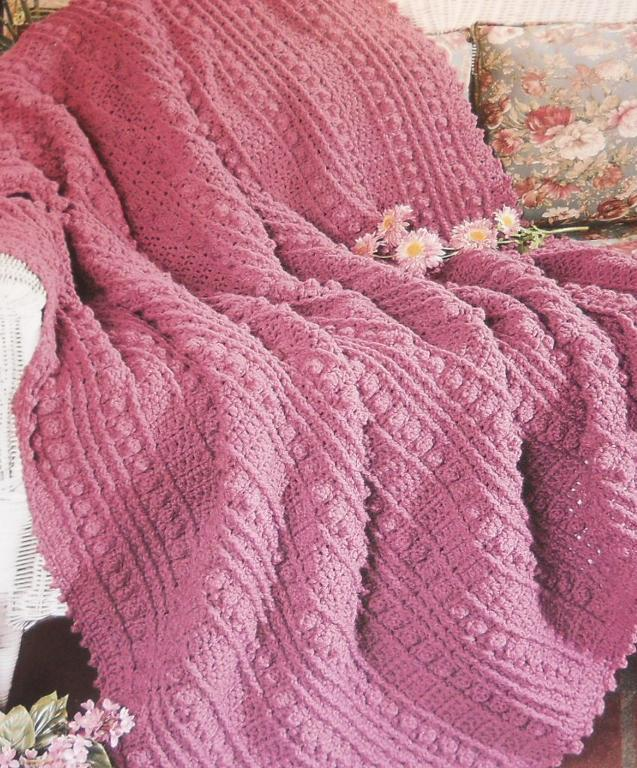 Pink Bobbles Afghan crochet pattern