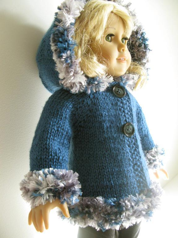 Hooded 18' Doll Jacket knitting pattern