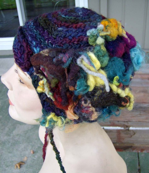 Freeform Crochet Hat with Felted Bubbles by Heather Lightbody