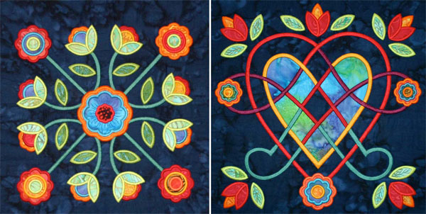 Midnight Roses Rose of Sharon machine appliqué blocks.