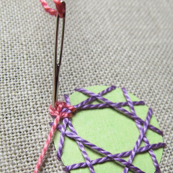 pull the thread down into the middle of the first chain stitch