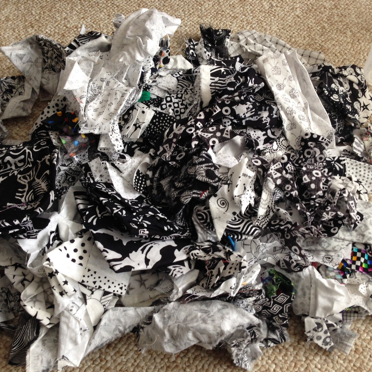 Black and White Fabric Scraps